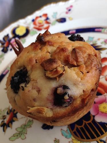 Blackberry, White Chocolate & Cobnut Muffins