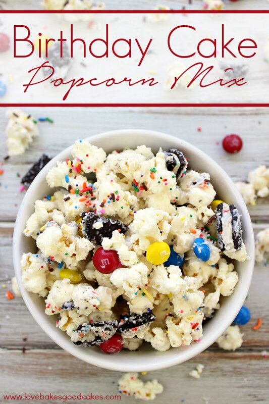 This Birthday Cake Popcorn Mix is a fun snack idea for parties, your favorite movie or just because! It gets its birthday cake flavor from cake mix, candies and Oreo's - with a combo like that, you know it's good! #birthdaycake #snack #popcorn