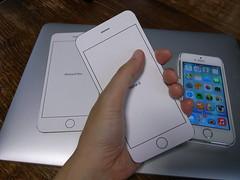iPhone 6(型紙)と私の手