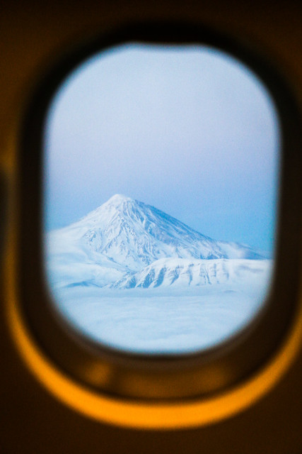 Beautiful Mount Damavand view from the airplane, Iran 飛行機から見たダマーヴァンド山