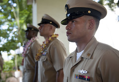 Newly pinned Chief Petty Officers from Navy Region Hawaii stand in formation following a chief pinning ceremony held at Joint Base Pearl Harbor-Hickam. (U.S. Navy/MC2 Tiarra Fulgham)