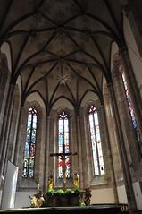 Choeur gothique (XVe), cathédrale Notre-Dame du Glarier, Sion, canton du Valais, Suisse.
