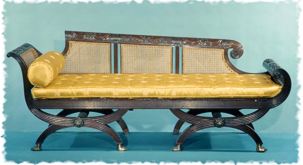 1815 Sofa. American. Mahogany, gilt brass, tulip poplar. metmuseum