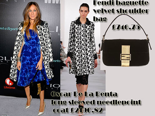 Sarah Jessica Parker in Fendi baguette velvet shoulder bag