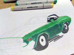 Dodge Charger (gezeichnet mit Brush-Markern)