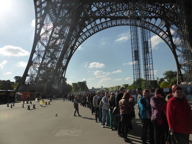 Queue at Eiffel Tower, Paris 2014