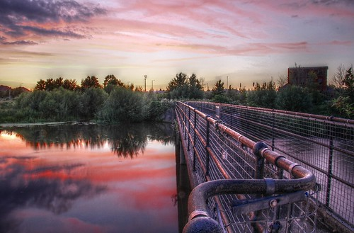 bridge sunset reflection water evening colours ruin derelict hdr weir taunton rivertone firepool rnbtone