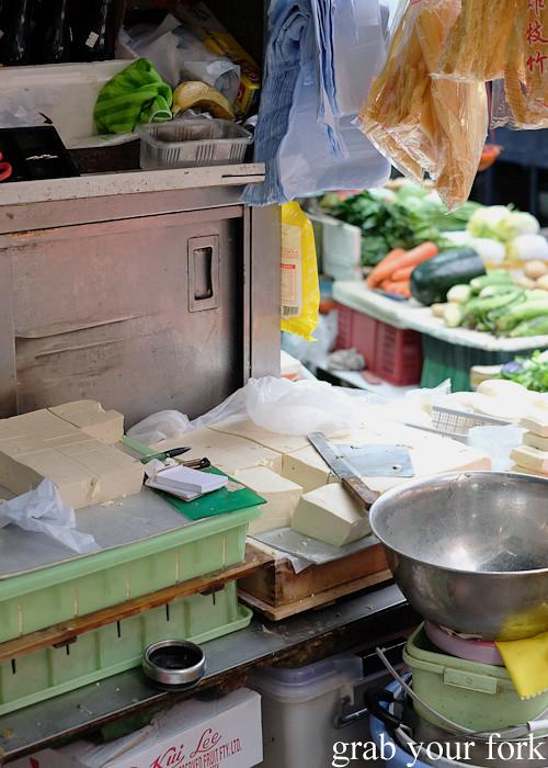 Fresh tofu blocks at the Graham Street market, Central district, Hong Kong