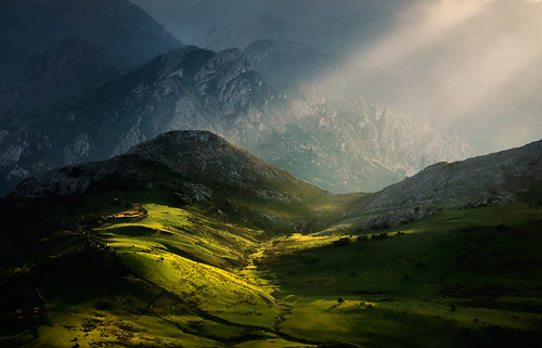 sunset mountains spain asturias