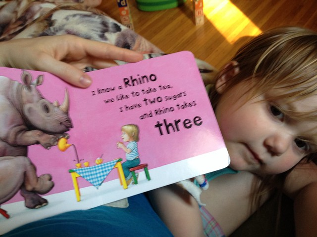 """Reading """"I know a rhino"""" - I love this book and think the protagonist looks a lot like M!"""