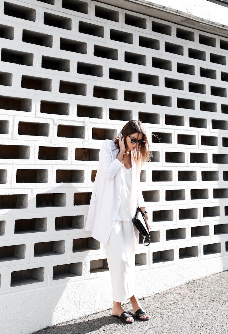 modern legacy fashion white on white street style blog Rodebjer Theyskens Theory wide culottes Camilla and Marc Zoya cami top Common Projects leather slide sandals Alexander Wang Prisma envelope clutch bag outfit work office wear (6 of 12)