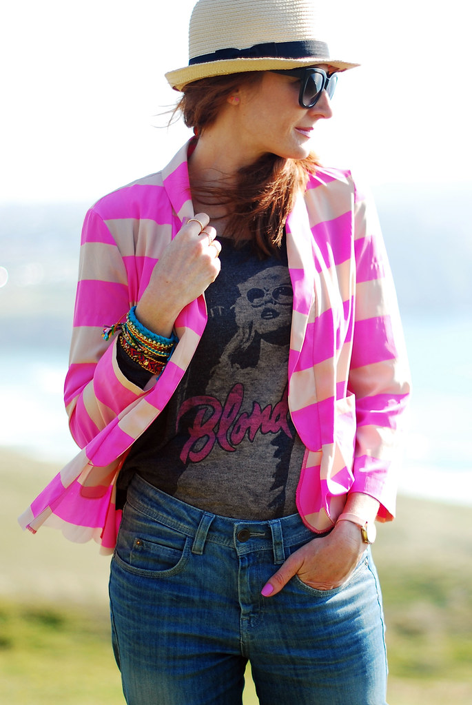Neon pink stripes, rock tee, boyfriend jeans