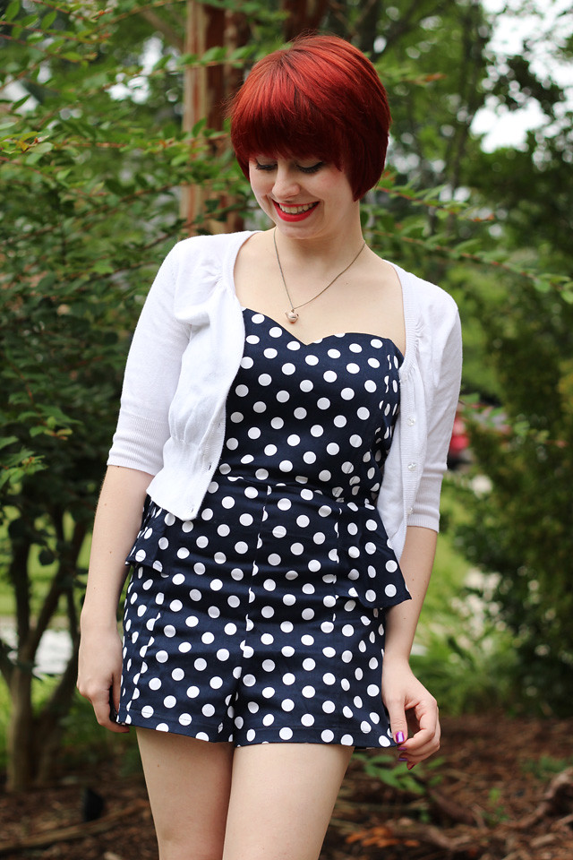 Strapless Polka Dot Romper with a White Cardigan