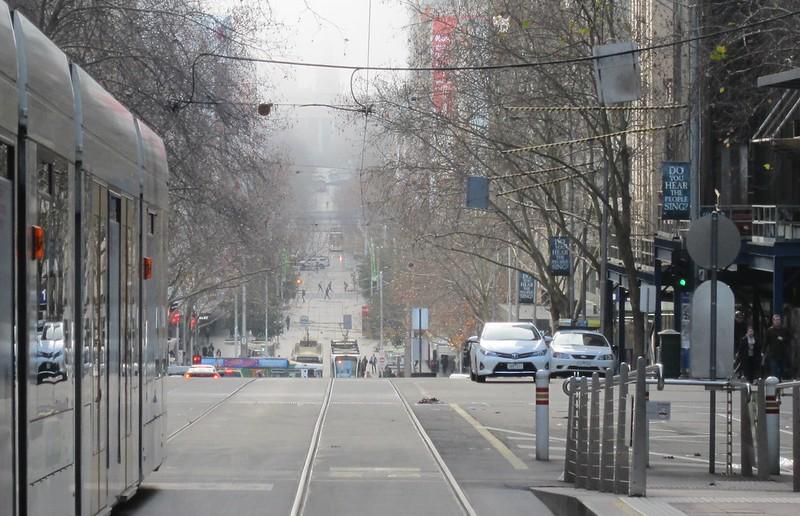 Bourke Street fog, looking east towards Parliament