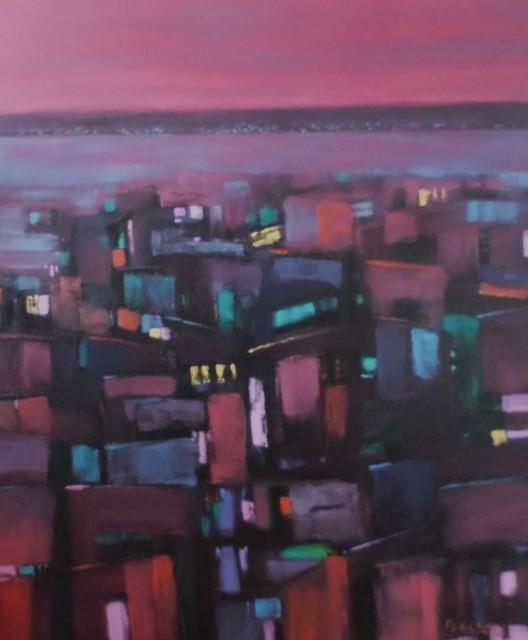 utf-8''Patricio Peña Oltra. Ciudad en Concierto. Óleo sobre tela. 100x120 cm.