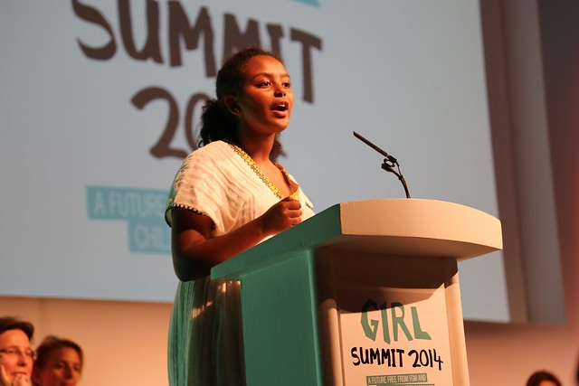 Hannah Godefa, UNICEF National Ambassador for Ethiopia, speaking at Girl Summit 2014