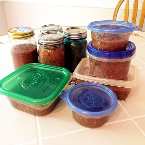 ... and a triple batch of @thepioneerwoman salsa in the fridge.
