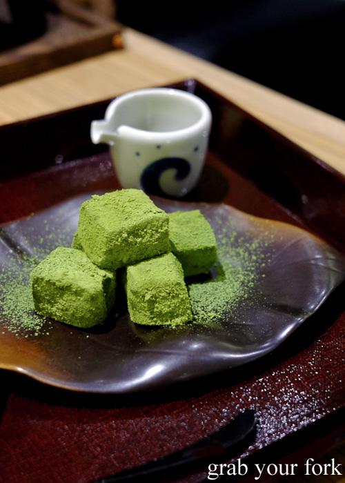 Matcha and warabi mochi dessert at Yayoi, Sydney