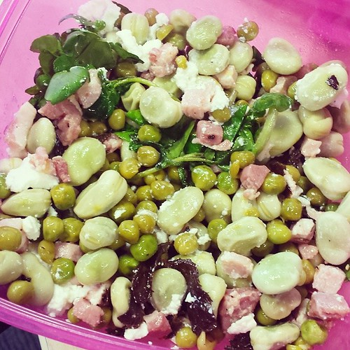 Today's #salad is broad bean, pea, pancetta, ricotta, mint and lemon dressing. YUM #diet #weightloss #healthy