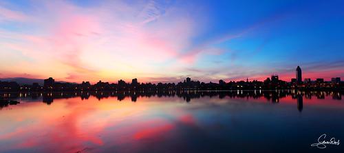 panorama sunrise canon taiwan taipei 台灣 台北 日出 ef1740 eos5d2 忠孝碼頭