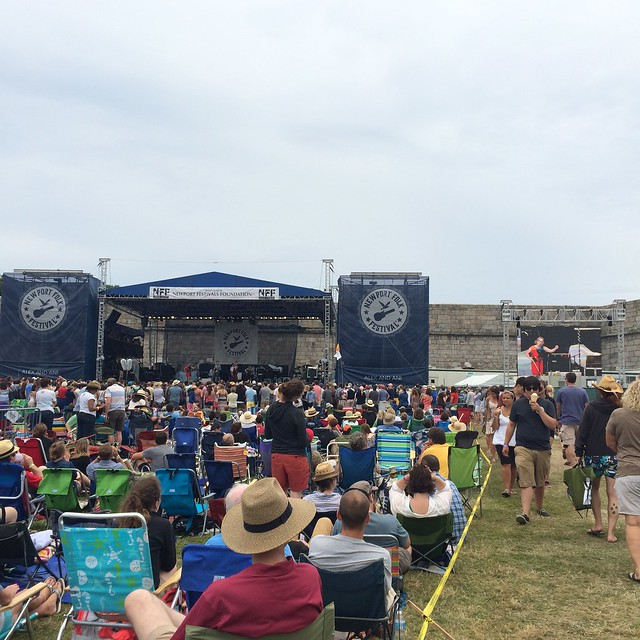 I don't even care that it's sprinkling. @nickelcreek @newportfolkfest #newportfolk #folkyeah