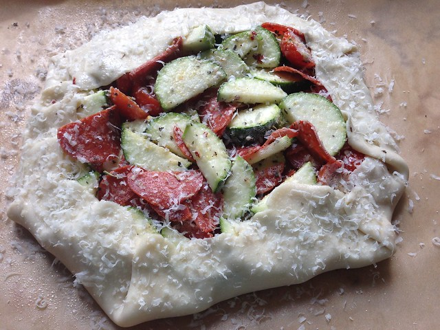 Zucchini galette with pepperoni on twothirtyate.com