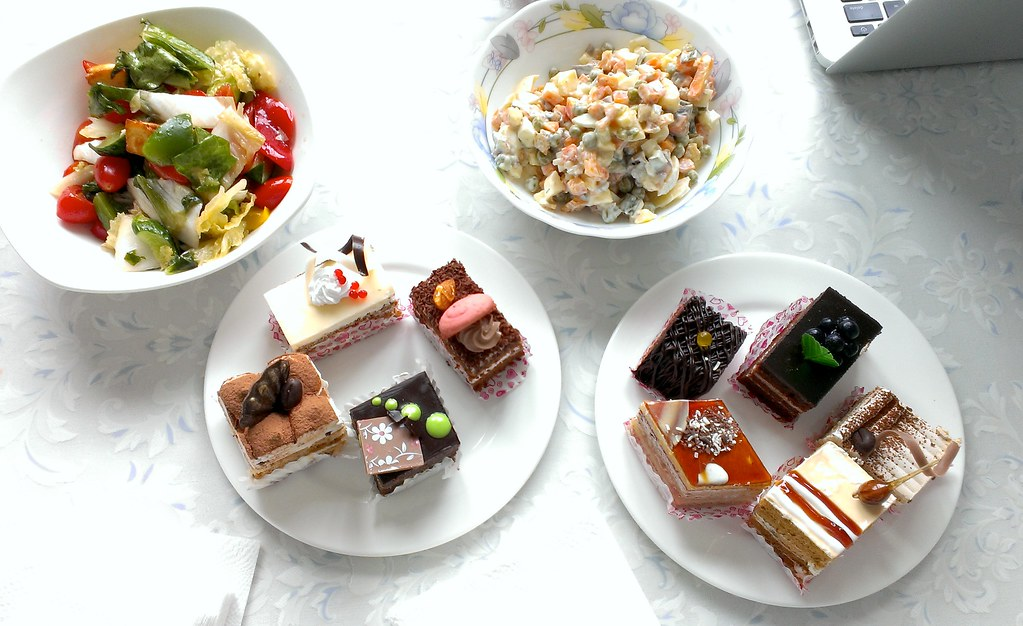 Salads and cakes