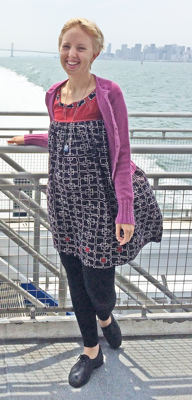 windblown on the ferry // pink cardigan, fair trade patterned Mata Traders dress, black leggings