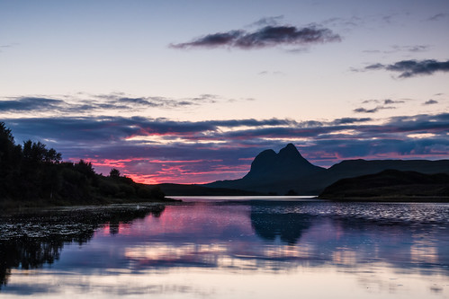 sunset reflections scotland highlands unitedkingdom westcoast suilven camloch