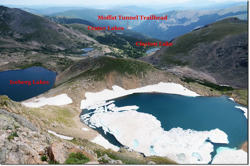 Overlook Iceberg Lakes & Clayton Lake from Continental Divide 1