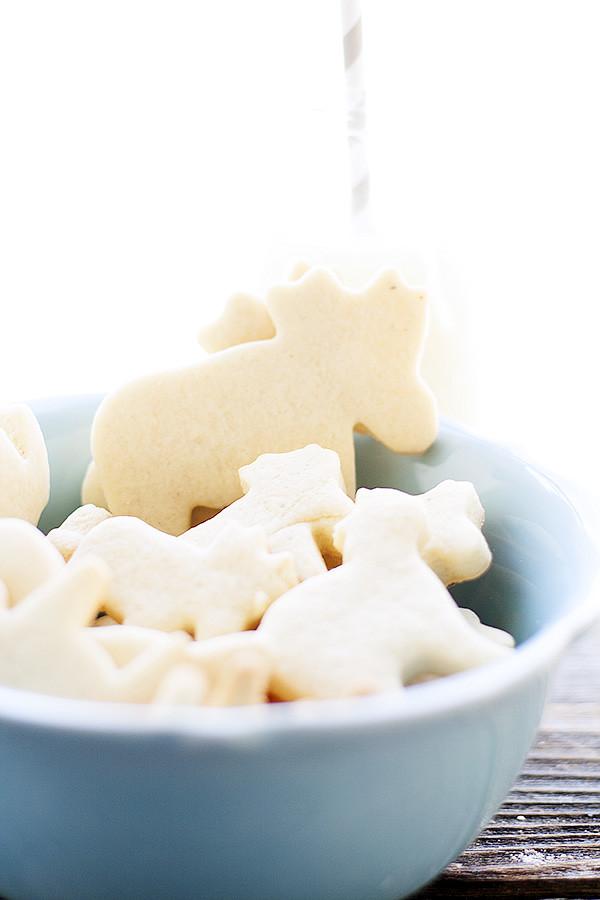 homemade animal crackers and milk