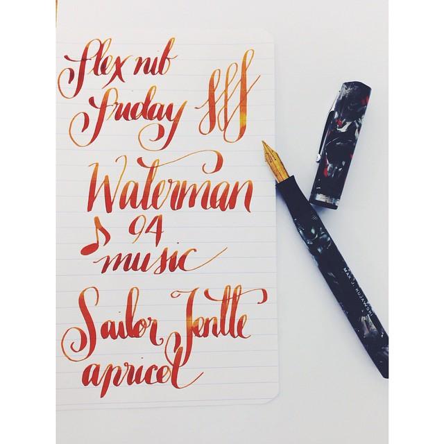 Flex Nib Friday! Waterman 94 + Music Nib. Sailor Jentle Apricot. #fpgeeks #fountainpen #fountainpens #pen #pens #penporn #penaddict #flex #flexnibs #flexnibfriday #waterman #vintage #music #music #musicnibs #seriousnibbage #nibbage