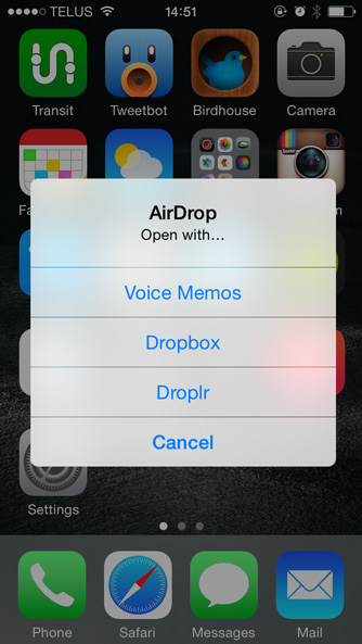 Receiving an openable file with AirDrop