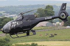 G-TGGR - 2001 build Eurocopter EC120B Colibri, departing from Buxton during Hillhead 2014