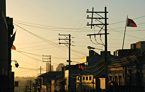 street city light sunset urban building peru americalatina southamerica lines architecture evening wire streetlight dusk streetlamp flag cable lamppost electricity arequipa 365project