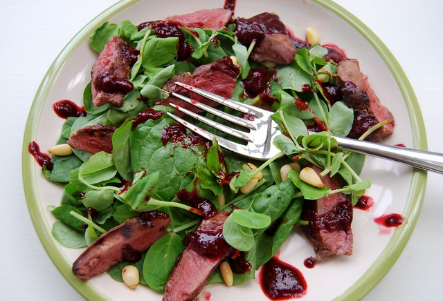 Pan Fried Wood Pigeon Salad with a Fresh Raspberry Balsamic Reduction 4