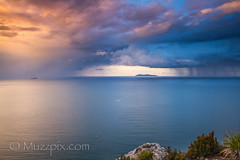 "muzzpix-nz posted a photo:	Facebook    | 500px  | WebsiteIt""s a long way for a small fishing boat to make the run in to home before dark … especially with a few squally showers about . Image made from atop the Mount looking out to sea towards Major Island about twenty miles offshore . Many a week-end fisherman venture out around the islands to their fav fish spots and usually there is a procession making their way home on a sunday evening , hopefully with a catch  …"