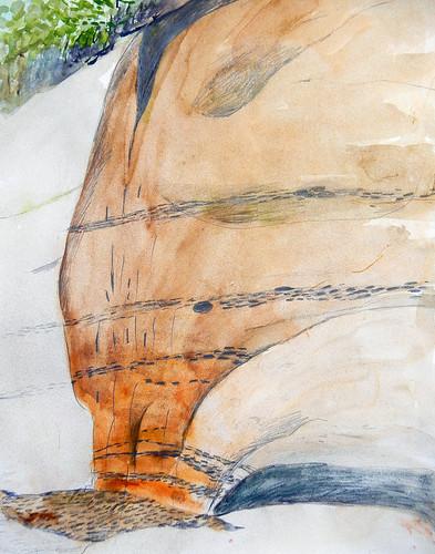 Rock Wall on my Sooke Sketching Trip