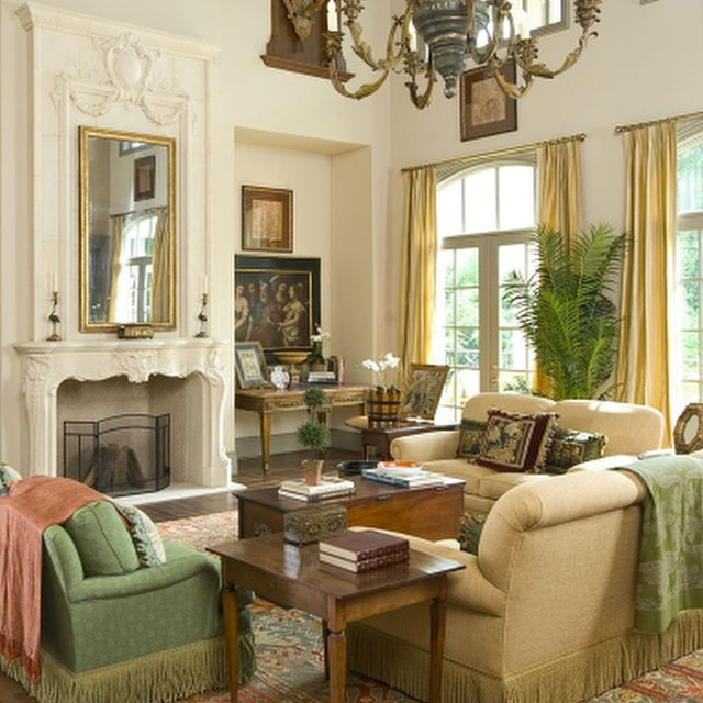 Formal living area in French Country styled Highland Park home.