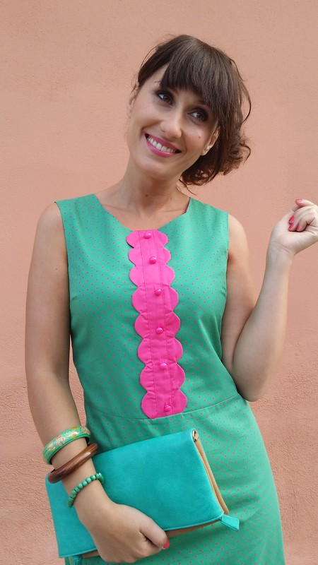 Vestido, Preppy, turquesa, fucsia, polka dot, flequillo postizo, New Girl, Jess , preppy dress, turquoise, fuchsia, polka dot, false fringe, Traka Barraka, Zara, Suiteblanco