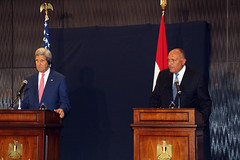 Secretary of State John Kerry holds a press availability with Egyptian Foreign Minister Sameh Shoukry, in Cairo, Egypt, September 13, 2014. [State Department photo/ Public Domain]