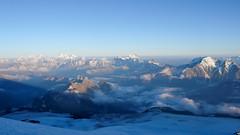 Widok z namiotu rozbitego powyżej Skał Pastuchova 4700m.