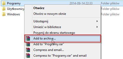 Tworzenie nowego archiwum