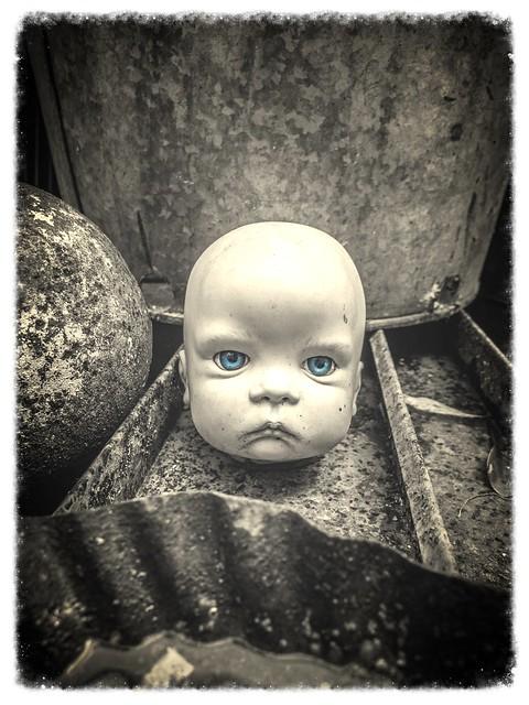 Creepy Baby Doll Head at Shinola