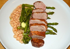 Pan Fried Duck Breast, Asparagus, White Beans