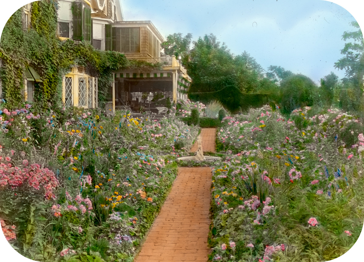 'Gardenside,' Frederick Augustus Snow house, Ox Pasture Road, Southampton, New York. View north to flower garden