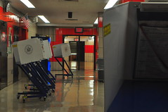 Voting booths the night before