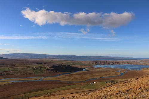 vatnsdalur húnavatnssýsla vatnsdalsá flóðið landscape farms vatnsdalsfjall hjallaland sky cloud iceland october 2016