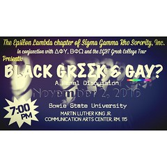 Tonight Be there #bowiestate #greek #hbcu join as we get real about black, gay and Greek. @… https://t.co/kRu0Xqri6X https://t.co/Ye0F74nwiQ Event has been moved to the Student center, 3rd floor lobby #black #gay #greek #bowiestate #lgbt #pride #hbcu
