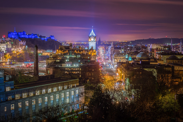 Edinburgh lights up blue for St Andrew's Day